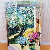 Pictures handmade. Livemaster - original item Picture of Two of the bouquet ( oil painting, miniature 10/15). Handmade.
