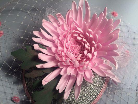 Шляпы ручной работы. Ярмарка Мастеров - ручная работа. Купить NежDи:Розовая хризантема. Handmade. Серый, шляпка женская