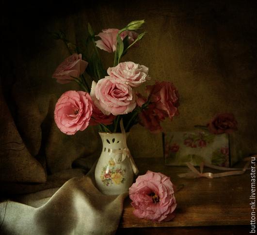 Фотокартины ручной работы. Ярмарка Мастеров - ручная работа. Купить натюрморт - вечерний букет - эустомы в вазе. Handmade. Розовый, розы