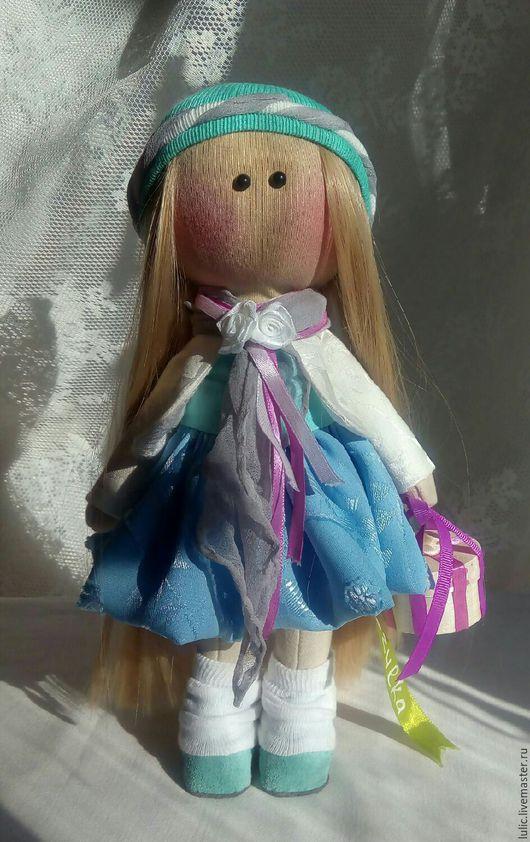 Куклы тыквоголовки ручной работы. Ярмарка Мастеров - ручная работа. Купить Блондинка в голубом. Handmade. Интерьерная кукла, текстильная игрушка