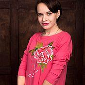 Одежда ручной работы. Ярмарка Мастеров - ручная работа Платье хлопковое розовое Пион. Handmade.