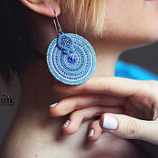 Украшения handmade. Livemaster - original item Soutache earrings round disc blue. Handmade.