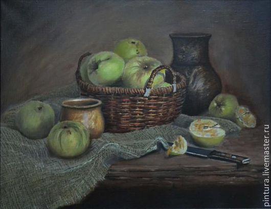 Натюрморт ручной работы. Ярмарка Мастеров - ручная работа. Купить Корзина яблок. Handmade. Коричневый, Плетеная корзинка, тихая жизнь