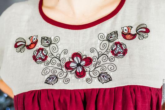"""Платья ручной работы. Ярмарка Мастеров - ручная работа. Купить Бордовое платье """"Птички и цветы"""". Handmade. Комбинированный, славянская одежда"""