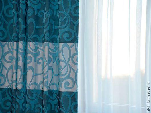 Текстиль, ковры ручной работы. Ярмарка Мастеров - ручная работа. Купить Синие шторы для гостиной. Handmade. Портьеры, красивые шторы