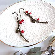 Украшения handmade. Livemaster - original item Earrings Brass Forest Branch Red Berries Red Corals Eco Jewelry. Handmade.