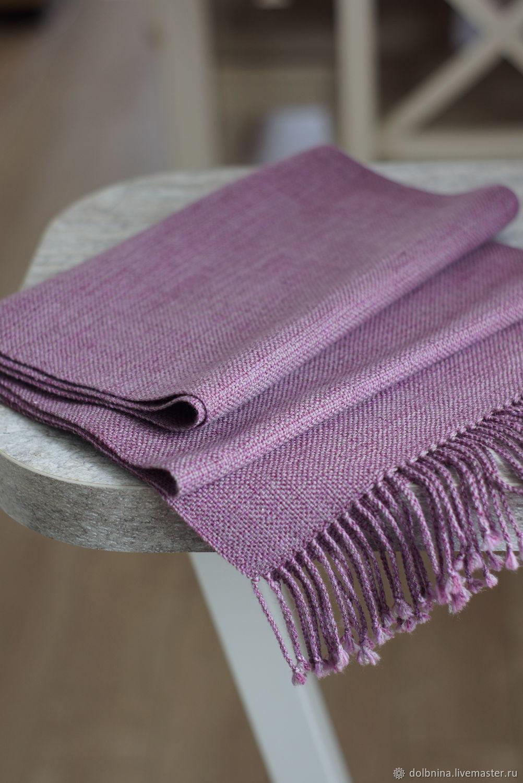 Домотканый шарф сиреневый ручное ткачество, Палантины, Липецк,  Фото №1