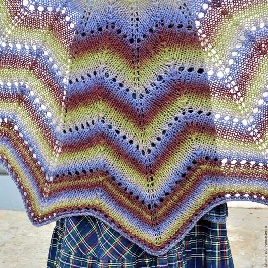 шаль купить, шаль в полоску, необычная шаль, нарядная шаль, теплая шаль, подарок жене, шаль вязаная, подарок девушке, разноцветная шаль, полосатая шаль, подарок на день рождения, шаль ажурная, синий,