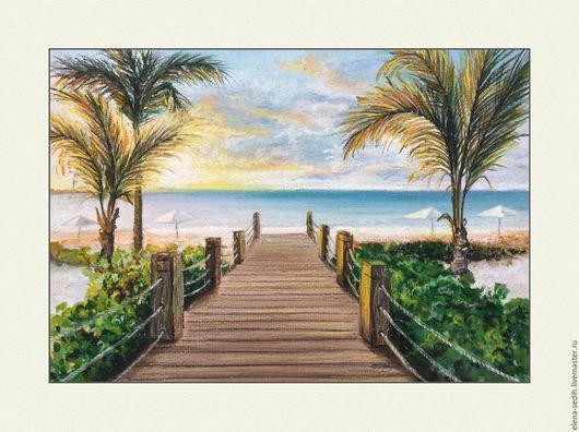 Картина пастелью. Закат на море. Авторская работа. Автор Елена Седых.