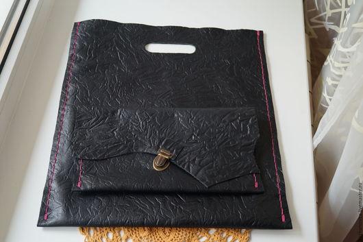 Женские сумки ручной работы. Ярмарка Мастеров - ручная работа. Купить Сумка - пакет кожаная в комплекте с портмане. Handmade. Черный