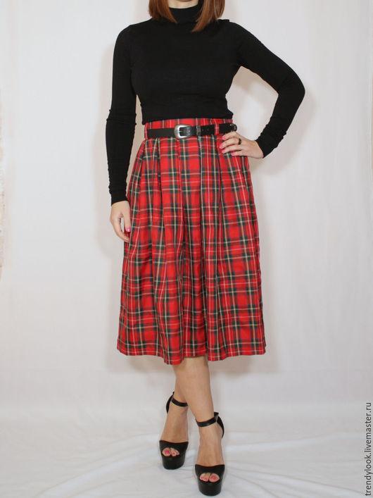 Юбки ручной работы. Ярмарка Мастеров - ручная работа. Купить Красная юбка в клетку, юбка шотландка, юбка миди в складку. Handmade.