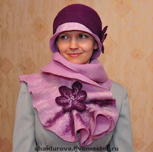 """Шляпы ручной работы. Ярмарка Мастеров - ручная работа. Купить Комплект """"Загадка"""".. Handmade. Валяная шляпка, капустный шарф"""