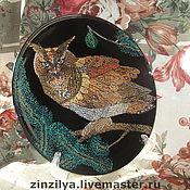 """Картины и панно ручной работы. Ярмарка Мастеров - ручная работа панно-тарелка  """"филин"""". Handmade."""