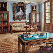 handmade. Livemaster - original item Interior of an office in the Arkhangelsk estate. Oil on canvas. 2020. Handmade.