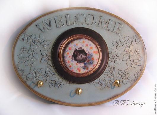 """Прихожая ручной работы. Ярмарка Мастеров - ручная работа. Купить Ключница""""Welcome"""". Handmade. Бирюзовый, ключница в прихожую, декупажные материалы"""