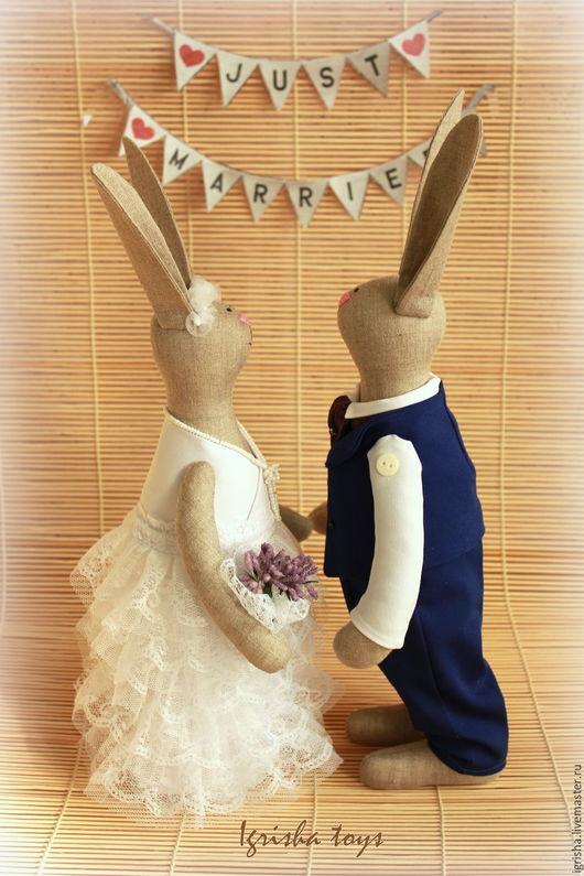 Свадебные зайцы в стиле Тильда от Igrisha toys
