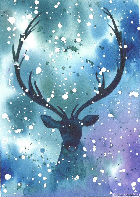 Северный олень – купить на Ярмарке Мастеров – L21ACRU | Иллюстрации и рисунки, Санкт-Петербург