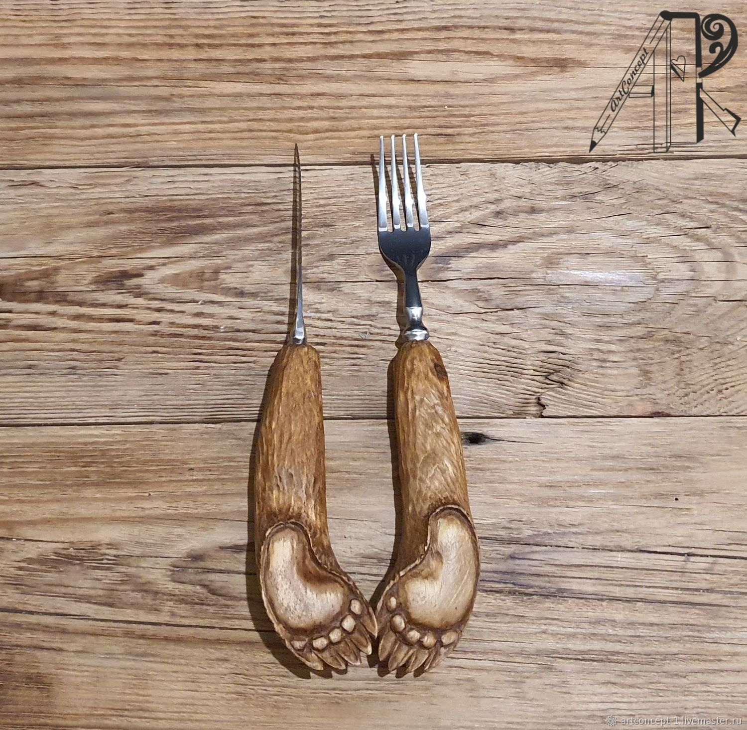 Meat and steak fork and knife with carved Wooden Handle Bear Paw, Utensils, Ryazan,  Фото №1