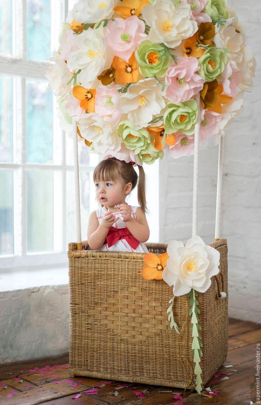 Аксессуары для фотосессий ручной работы. Ярмарка Мастеров - ручная работа. Купить Воздушный шар из цветов для детской фотосессии. Handmade. салато