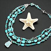 Украшения handmade. Livemaster - original item Three-row necklace the beads with a pendant,