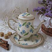 Посуда handmade. Livemaster - original item Forget-me-nots-kettle and tray. Handmade.