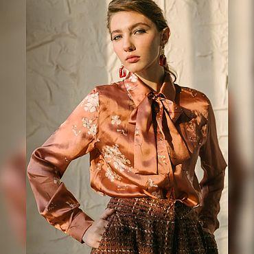 Одежда ручной работы. Ярмарка Мастеров - ручная работа Блузка из натурального шелка с бантом. Handmade.