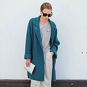 Одежда ручной работы. Ярмарка Мастеров - ручная работа Пальто вязаное темно-бирюзовое. Handmade.