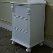 Для дома и интерьера handmade. Livemaster - original item White bedside table with carved elements. Handmade.