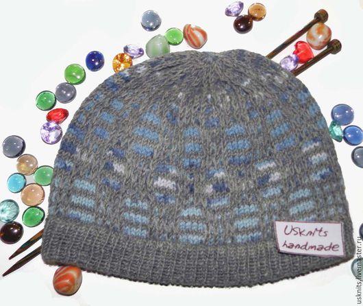 Вязаная шапка (шапочка) серо-голубая спортивная унисекс