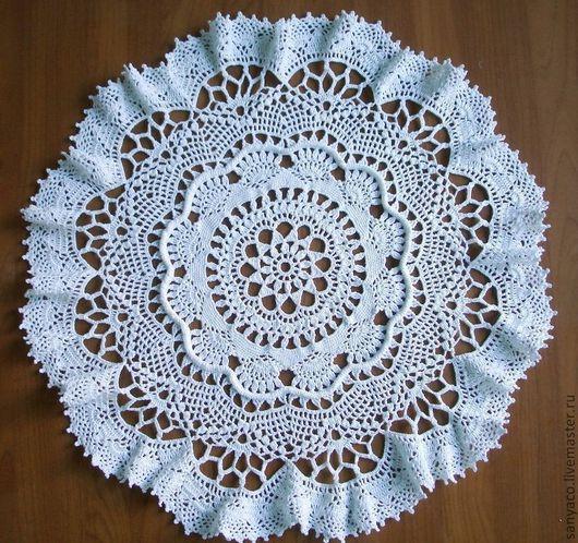 """Текстиль, ковры ручной работы. Ярмарка Мастеров - ручная работа. Купить Салфетка """"Камелия"""". Handmade. Белый, салфетка крючком, скатерть"""