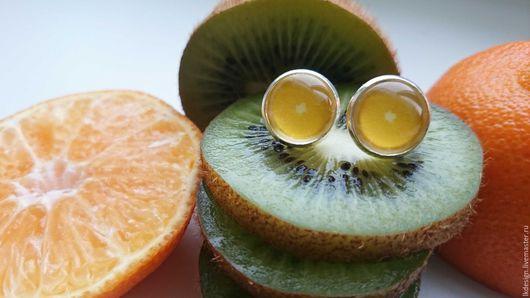 """Серьги ручной работы. Ярмарка Мастеров - ручная работа. Купить Серьги """"Лимон"""". Handmade. Лимонный, фрукты, стеклянный кабошон, цитрусовый"""