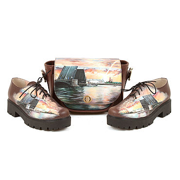 """Обувь ручной работы. Ярмарка Мастеров - ручная работа Комплект кожаный ботинки и сумка """"Нарисуй свой город"""". Handmade."""