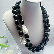 Украшения handmade. Livemaster - original item Necklace with black agate and baroque pearls. Handmade.