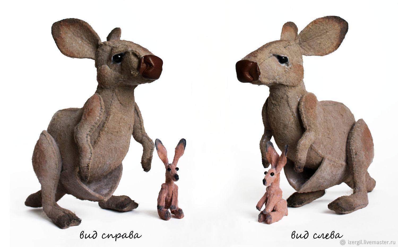 Toy kangaroo cook kid, gift, souvenir, made of felt, Stuffed Toys, Moscow,  Фото №1