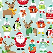 Материалы для творчества ручной работы. Ярмарка Мастеров - ручная работа Ткань Novelty Christmas Scatter Turquoise Makower UK. Handmade.