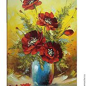 Pictures handmade. Livemaster - original item poppies in a vase. Handmade.