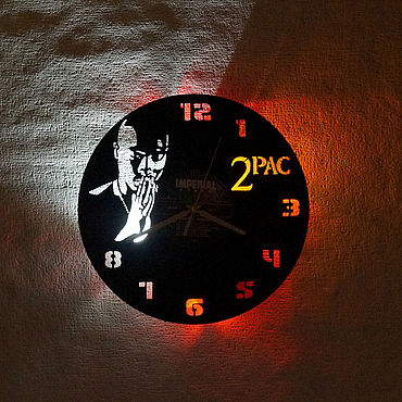 For home and interior handmade. Livemaster - original item Vinyl wall clock with 2Pac LED backlight. Handmade.