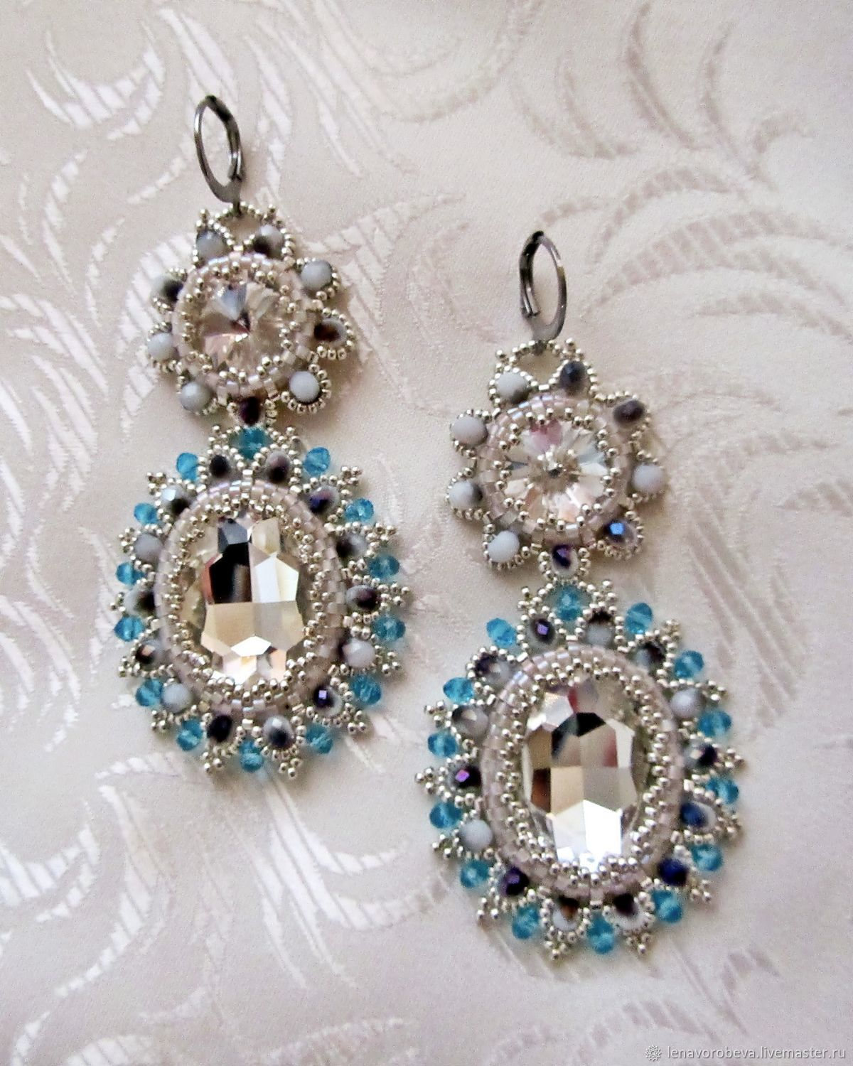 Earrings Handmade 'crystal blue', Earrings, Voronezh,  Фото №1