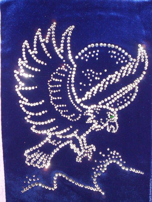 Животные ручной работы. Ярмарка Мастеров - ручная работа. Купить Орел. Картина из страз.. Handmade. Серебряный, стразы, стразы стеклянные