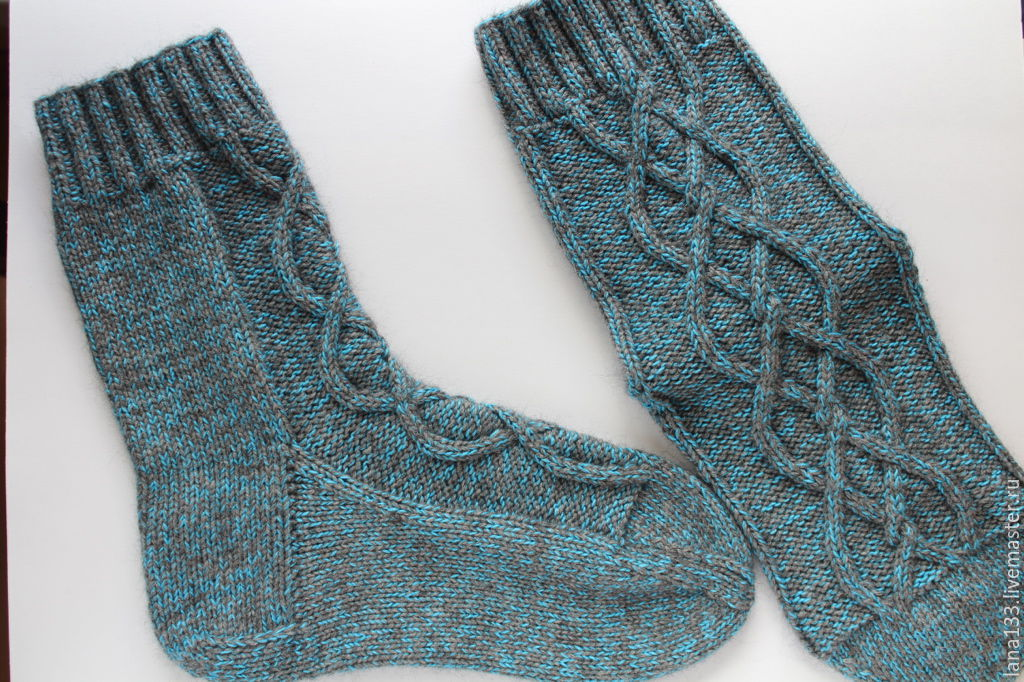 Носки мужские (вязаные спицами) – купить в интернет ...