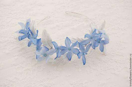 Венок на голову Голубой жасмин. Цветы из шелка
