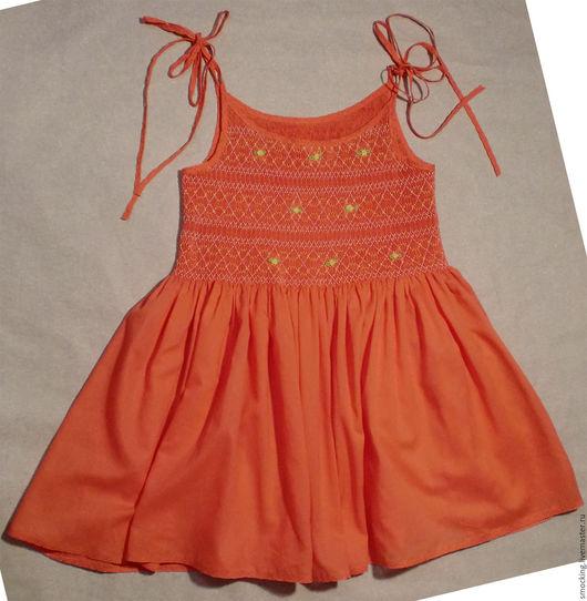 Одежда для девочек, ручной работы. Ярмарка Мастеров - ручная работа. Купить сарафанчик для девочки, smocking. Handmade. Коралловый, на лето, смокки