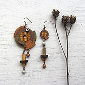 Украшения handmade. Livemaster - original item asymmetrical wooden earrings. Handmade.
