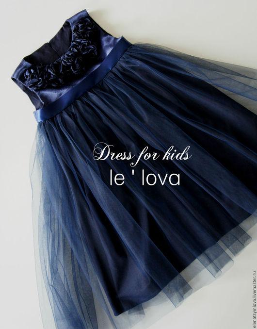 Одежда для девочек, ручной работы. Ярмарка Мастеров - ручная работа. Купить Детское платье цвет Полночный синий. Handmade.