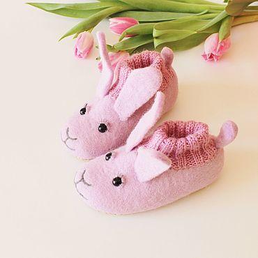 Footwear handmade. Livemaster - original item Copy of Felted slipper  socks for children polar bear. Handmade.