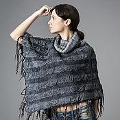 Одежда ручной работы. Ярмарка Мастеров - ручная работа Пончо из шерсти и шелка. Handmade.