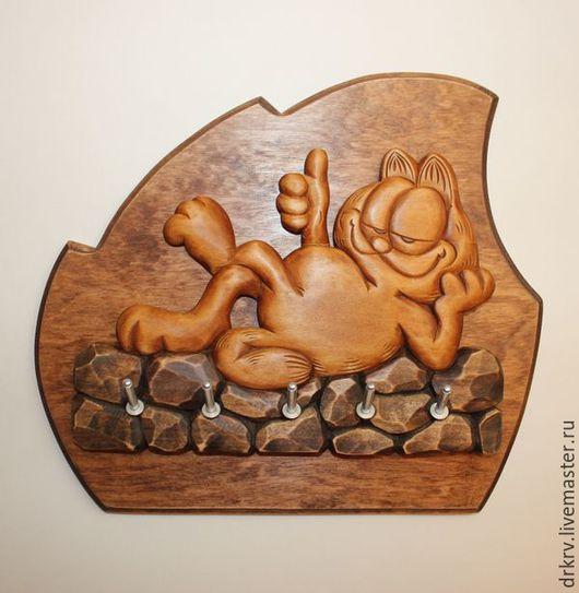 """Прихожая ручной работы. Ярмарка Мастеров - ручная работа. Купить Ключница """"Кот Гарфилд Лайк"""". Handmade. Комбинированный, из мультика, сувенир"""