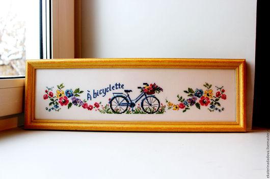Город ручной работы. Ярмарка Мастеров - ручная работа. Купить Велосипед. Handmade. Велосипед, Вышитая картина, солнечная картина