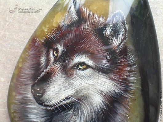 """Кулоны, подвески ручной работы. Ярмарка Мастеров - ручная работа. Купить Кулон """"Волк"""". Handmade. Черный, живопись маслом"""
