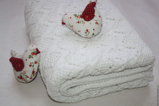 """Пледы и одеяла ручной работы. Ярмарка Мастеров - ручная работа. Купить Плед для новорожденного """"Первый снег"""". Handmade. Белый"""